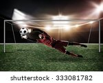 goalkeeper in gates jumping to... | Shutterstock . vector #333081782