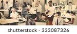 multiethnic group of people... | Shutterstock . vector #333087326