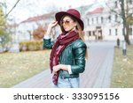 young girl in sunglasses and... | Shutterstock . vector #333095156