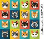 Stock vector cute cats vector pattern illustrations on colored background 333126416