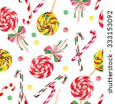 lollipop candy cane seamless... | Shutterstock . vector #333153092