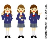 blazer uniformed school girls... | Shutterstock .eps vector #333155936