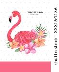 watercolor drawing of flamingo... | Shutterstock . vector #333164186