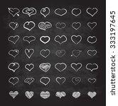 big set of chalk hearts hand... | Shutterstock .eps vector #333197645