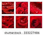 Collage With Beautiful Red Roses