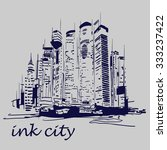 vector illustration of ink city | Shutterstock .eps vector #333237422