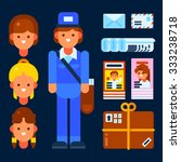 mail carrier and postal items.... | Shutterstock .eps vector #333238718