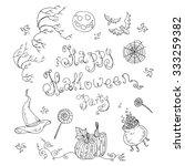 happy halloween party card .... | Shutterstock . vector #333259382