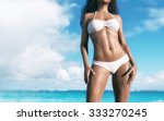 woman with white bikini at the... | Shutterstock . vector #333270245