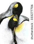 penguins cuddling  sketch hand... | Shutterstock . vector #333277706
