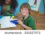 small boy using arts and crafts ... | Shutterstock . vector #333327572