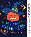 halloween pumpkin hand drawn... | Shutterstock .eps vector #333330722