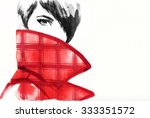 woman portrait with coat.... | Shutterstock . vector #333351572