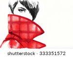 woman portrait with coat.... | Shutterstock . vector #333351572