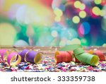colorful confetti and streamer... | Shutterstock . vector #333359738