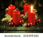Small photo of Xmas Advent wreath with one lighted candles for the 4th advent sunday rustic christmas traditional concept