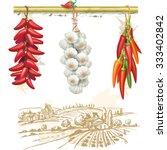 strings of red peppers against... | Shutterstock .eps vector #333402842