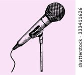 microphone on a stand  doodle... | Shutterstock .eps vector #333411626