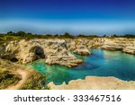 rocky stacks of santo andrea on ... | Shutterstock . vector #333467516