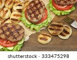 lunch with homemade bbq grilled ... | Shutterstock . vector #333475298