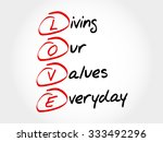 love   living our values... | Shutterstock .eps vector #333492296