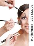 three hands of makeup artists... | Shutterstock . vector #333533708