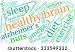 healthy brain word cloud on a... | Shutterstock .eps vector #333549332