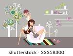 two girls enjoying coffee at... | Shutterstock .eps vector #33358300