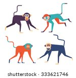 set of four cute monkeys. 2016... | Shutterstock .eps vector #333621746