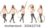 set of photos with woman and... | Shutterstock . vector #333622718