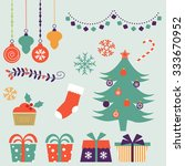 cute christmas decorative... | Shutterstock .eps vector #333670952