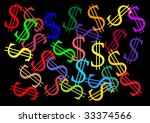 multi-colorful illustration of dollar signs on black - stock photo