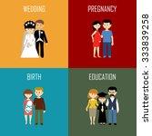 flat set of family life. vector ... | Shutterstock .eps vector #333839258