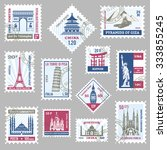 postage stamps set with world... | Shutterstock .eps vector #333855245