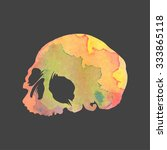 bright watercolor vector skull | Shutterstock .eps vector #333865118