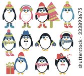 set of penguins in winter | Shutterstock .eps vector #333893675