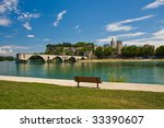 View on Avignon Bridge - stock photo