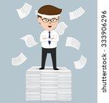 businessman standing on pile of ... | Shutterstock .eps vector #333906296