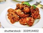 korean sauce fried chickens. | Shutterstock . vector #333914402