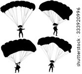 Set Of Skydivers  Silhouettes...
