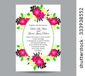 invitation with floral... | Shutterstock . vector #333938552