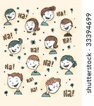 vintage kids laughing | Shutterstock .eps vector #33394699