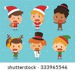 kids in christmas theme. | Shutterstock .eps vector #333965546