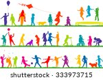 set of colored children... | Shutterstock .eps vector #333973715