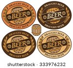 set oval label with a beer keg... | Shutterstock .eps vector #333976232