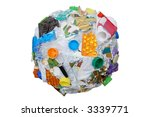 Sphere formed from assorted domestic waste over white - stock photo