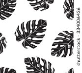 monstera. seamless pattern with ... | Shutterstock .eps vector #334006436