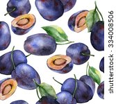 watercolor plums seamless... | Shutterstock . vector #334008506