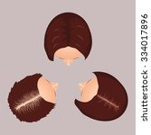 female hair loss stages set.... | Shutterstock .eps vector #334017896