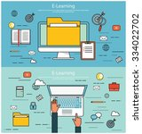 e learning  online education... | Shutterstock .eps vector #334022702